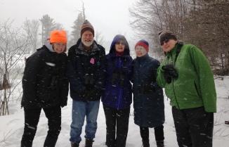 Intrepid Boxborough Birders in the snow. Photo by Rita Grossman.